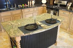 Cool lighting for an antique kitchen Green Granite Countertops, Kitchen Countertops, Kitchen Nook, Kitchen Dining, Kitchen Ideas, Dining Room, Glass Light Fixtures, Antique Kitchen Cabinets, Old Fashioned Kitchen