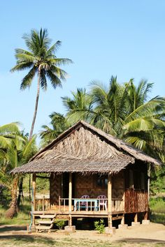 Photo about Bungalow on Ngwe Saung Beach (Myanmar). Image of residential, house, lawn - 2742211 Surf Shack, Beach Shack, Beach Cottage Style, Beach House, Cabana, Bamboo House Design, Hut House, Bahay Kubo, Bamboo Architecture