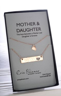 New Mom Daughter jewelry sets! Bar Necklaces for Mom and Daughter. Mother Daughter Gifts. Celebrate love, family and Mom. With the perfect gift for Mom, gift for Daughters. Women and Men find all sweet sentimental gifts at Erin Pelicano!