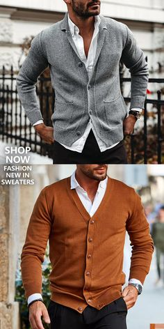 Men's Fashion Solid Color Button-Knit Cardigan [ SHOP NOW ] Men's fashion casual sweaters for you. Best choice for every season , buy more to get big discount. Buy 1 get off, buy 2 get 3 Mens Fashion Winter Coats, Mens Fashion Wear, Big Men Fashion, Fashion Mode, Suit Fashion, Latest Fashion Clothes, Sweater Fashion, Color Fashion, Fashion Fall