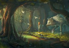 Speedpaint #53 - Another fantasy inspired digital paint. Here we see a lone woman with birds to accompany her communicating with a giant white wolf in the middle of a magical forest.