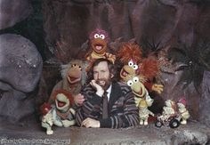 Jim Henson with some of the Muppet cast from 'Fraggle Rock', circa 1985.