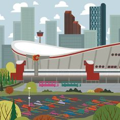 Saddledome - Calgary Landmark art print, home decor  Calgary landmark art print with a unique Mid-Century / Folk Art take. A perfect Calgary gift idea for any city lover or that poor soul that is leaving town. Purchase on www.snowalligator.com  Illustration by artist Jason Blower  #yyc #yycart #yycwallart #wallart #Calgaryart #Calgarygift #yycgift #snow_alligator  #charmingart #cuteart #midCentury #Folkart #cuteart #charmingart #yyclove