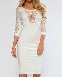 Stylish Scoop Neck 3/4 Sleeve Lace Splicing Bodycon Dress For Women