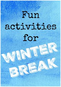 """Winter break. Kids in New York still have it. Which means we have to figure out fun stuff to do during """"I can't feel my face"""" temperatures. Cold weather = a lot of indoor activities  via @novsunflower"""