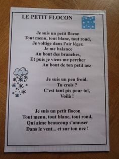 Comptine: Le petit flocon Core French, Christmas Concert, French Resources, French Immersion, Chant, Teaching French, Kindergarten, January, Poetry