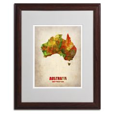 Australia Watercolor Map by Naxart Matted Framed Painting Print