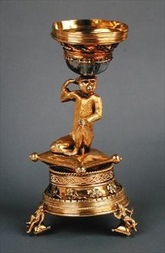 The Ape Salt, presented to New College, Oxford by Archbishop Warham in (silver-gilt, ruby & crystal) Nautilus, Salt Cellars, Wars Of The Roses, Crystal Wine Glasses, Ruby Crystal, Story Of The World, Treasure Island, Renaissance Art, Ivoire