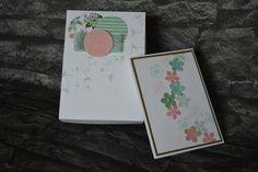 Kartenbox in wildleder minzmakrone und Kirschblüte