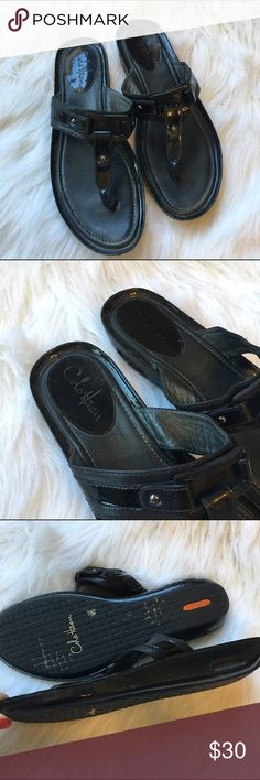 """🆕Cole Haan Wedge Sandals Thong style wedge sandals. Features some black patent leather to add some edge. Nike Air technology so they are super comfortable. In excellent used condition with minor scuffing and a few loose threads. Wedge is about 1.5"""" Cole Haan Shoes Sandals"""