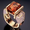 RANDY POLK DESIGNS: The peachy-pink 9ct. Imperial Topaz surrounded by channel-set pave diamonds