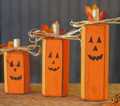 Set of Three Rustic Wooden Pumpkins Approx. Size: 12x4 10x4 6-8x4 Measurements are approximate. - Solid Wood - Hand cut and sanded - Painted Pumpkin Orange and Distressed. - Adorned with Natural Raffia bows and Assorted Fall Leaves in rich oranges, reds, and yellows. - Faces are Hand Drawn on one side only. *Each set is made to order and pumpkin Face may vary.* - Also available without faces. (Photo props not included) ~~~~CHECK OUT OUR OTHER HALLOWEEN DECOR ITEMS HERE: https://...