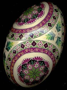 Ukrainian Pysanka egg using a wax resist method.