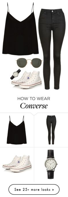 Untitled #17 by ijustwanttobe on Polyvore featuring Raey, Topshop, Converse, FOSSIL and Ray-Ban