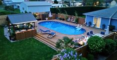 Are you think of how to enhanced your pool area with pool deck ideas? I have here how to enhance your pool area with a pool deck ideas you will love. Above Ground Pool Landscaping, Backyard Pool Landscaping, Backyard Pool Designs, Small Backyard Pools, Deck Ideas For Above Ground Pools, Boxwood Landscaping, Pool Porch, Small Pools, Small Patio