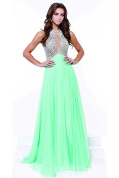 Prom Dress NX8242. Floor Length A-Line Prom Dress has Jewel and Rhinestone Detail Embellished Bodice with Halter Neck and Front Keyhole Detail, Empire Waist and Layered Flowing Skirt.