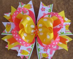 SPRING CHICK Hair Bow Boutique Style Easter by PolkaDotzBowtique, $9.99