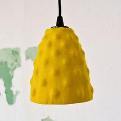 Felt lamp shade for pendant light yellow Ikea hack Cozy Corner, Lamp Shades, Ikea Hack, Hanging Lights, Wool Felt, Bulb, Hacks, Yellow, Pendant