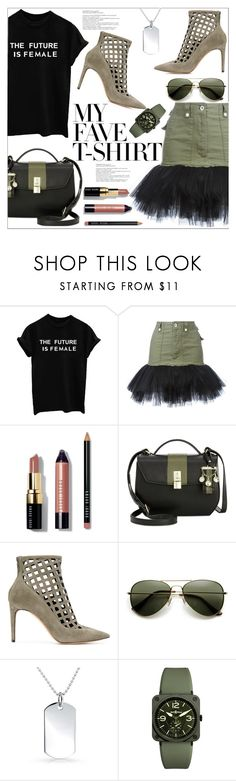 """""""Dress Up a T-Shirt"""" by queenvirgo ❤ liked on Polyvore featuring Unravel, Bobbi Brown Cosmetics, Nine West, Jean-Michel Cazabat, Bling Jewelry, Bell & Ross and MyFaveTshirt"""
