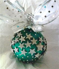 Star Glass Ornament- I looked at this one and said HEY I have those stars. I can make this ornament don't forget the bow.