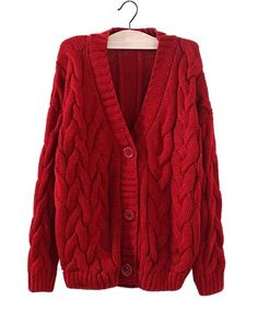 Red Chunky Cable Knit Cardigan ST0230042-1 Cool Outfits, Fashion Outfits, Cable Knit Cardigan, Parisian Style, Daily Fashion, What To Wear, My Style, Daily Style, Style Inspiration