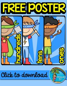 "Free Superhero Themed Place Value Poster!  2 versions (""ones"" and ""units"").  Click to download."
