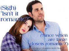 Woman and man looks at large closet and have different reactions