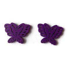 Embellissement papillon violet en bois 22x28 mm, scrapbooking x2