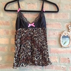 Betsy Johnson lingerie Leopard print 100% polyester. Beautiful black lace with adjustable thin strap n back. Betsy Johnson Intimates & Sleepwear
