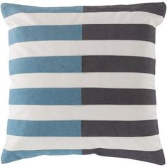 Art of Knot Sueded Stripes Hand Crafted Decorative Pillow, Blue