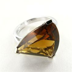 Sterling Silver Cognac Quartz 3-Sided Ring