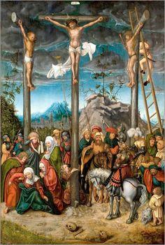 Lucas Cranach the Elder - The Crucifixion (National Gallery of Denmark) ルーカス・クラナッハ Catholic Art, Religious Art, La Passion Du Christ, Image Jesus, Lucas Cranach, National Gallery, Crown Of Thorns, Jesus Pictures, Fine Art Prints