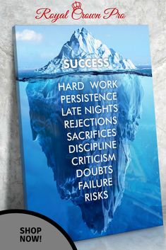 "High quality canvas wall art ""Success Hard Work, Persistence, Late Nights, Rejections, Sacrifices, Discipline, Criticism, Doubts, Failure, Risks"" will look great hanging in your home, office or dorm."