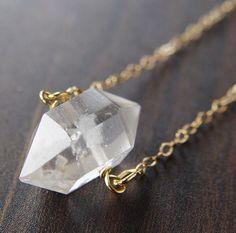 Single Herkimer Diamond Gold Necklace