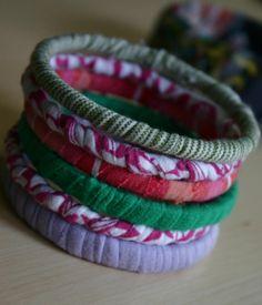 Stylish Craft Idea: A Colourful Stack of T-Shirt Bracelets