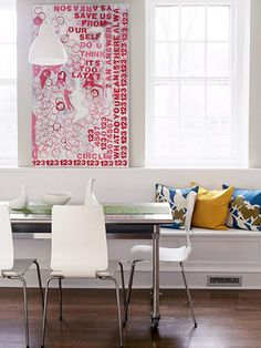 Way cool art you could probably imitate with paint, stencils, and dixie cups. Anyone wanna DIY?