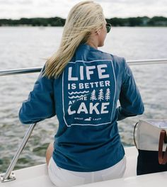 Whether it's hanging out at the end of the dock, taking a sunset joyride, or skipping rocks at the point, life is simply better at the lake. find the short sleeve version here We recommend sizing up f