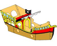 We made this huge cardboard ship for our pirate party. It worked out perfectly! @Wendy Rauhut