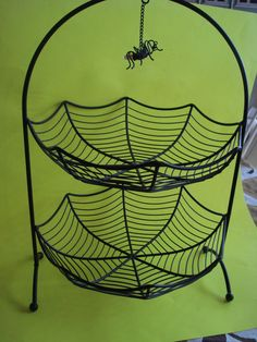 Large Metal Halloween 2 Tiered Bowl Spider Web Hanging Spider New | eBay