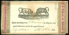 "Hand Colored Reward of Merit Woodcut of Bulls H E Phinney 6"" x 3"" 1848 