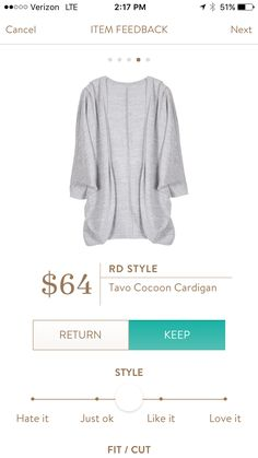 Looks like a comfortable cardigan.  It may be a bit longer in length than I prefer.