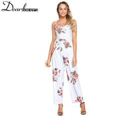 17205ae89b30 Dear Lover Floral Print 2018 Summer Jumpsuit Romper Wide Leg Long Playsuit  Strapless Sexy Backless Lace