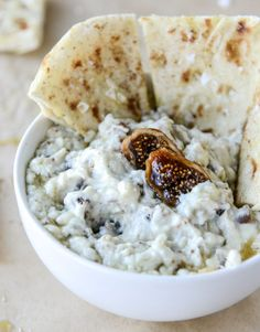 warm honey fig dip with blue cheese and garlic pitas I howsweeteats.com