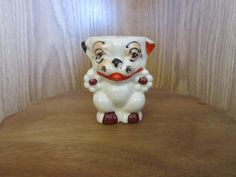 VINTAGE EGG CUP EGGCUP UGLY DOG MADE IN JAPAN CRAZING ON IT picclick.com