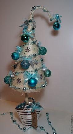 """Купить Топиарий """"Бирюза"""" - бирюзовый, новогодний декор, новогоднее украшение, новогодний интерьер, новогодние подарки"""