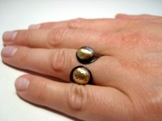 Copper ring with golden brass pebbles adjustable by BaccaraJewelry, $38.00