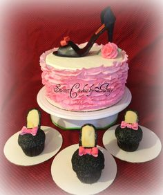 Pink Frilly High Heel cupcakes and matching cake