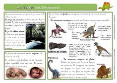 Au temps des Dinosaures : fiche très bien faite avec une 2è fiche exercice