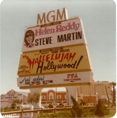MGM sign at the Flamingo/LV Blvd intersection before they moved the MGM down to Tropicana after the fire. Note the old Aladdin hotel in the background. Helen Reddy, Steve Martin, Dean Martin, Vintage Neon Signs, Hotel Motel, Las Vegas Nevada, Advertising Signs, Retro Signage, Vegas Vacation