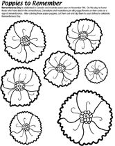 Remembrance Day Coloring Page With Poppies Remembrance Day - Poppies to remember coloring page